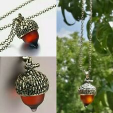 Vintage Style Amber Acorn Oak Pendant Necklace Hypoallergenic & Gift Bag