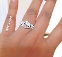 New 925 Sterling Silver CLUSTER 3 STONE ENGAGEMENT WEDDING RINGS