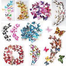 24PCS 3D Butterfly Wall Decals Removable Sticker Kids Art Nursery Decor Magnets