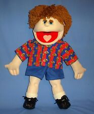 "FULL BODY BOY HAND PUPPET-24"" SOFT BODY YARN HAIR SHOES SOCKS REMOVABLE CLOTHES"