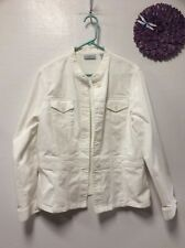 Womens casual white jacket size large button down pockets Valerie Stevens Y5