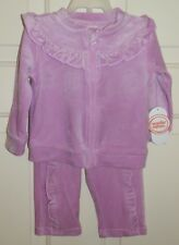 New Girls 6-9 Months Purple SOFT Velour 2 piece Set Pants Jacket Front Zipper