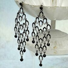 Alloy Black Jet Crystal Rhinestone Chandelier Drop Dangle Earrings 08660 New