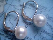 Perlenohrhänger Weißgold  585 mit Perle 8,8 mm,kurze Ohrringe Perle Weißgold 585