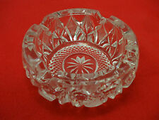 CRYSTAL GLASS ASHTRAY-CLEAR-VINTAGE-WEIGHT: 3 LBS-HEAVY-1970'S-PRE-OWNED-AS IS!