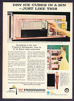 "1957 PINK Frigidaire Refrigerator photo ""New Sheer Look"" promo print ad"