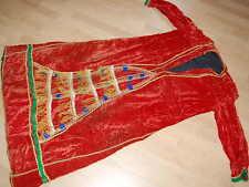 FANTÁSTICO ANTIGUO Terciopelo Vestido de AFGANISTÁN Rojo Traje volklore
