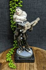 Vintage Pierrot Sad Clown Resin Figurine w Guitar Marble Base Made Italy Retro