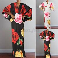 8-24 Womens Floral Shirt Dress Long Sleeve Slip Dress Ladies Formal Tunic Dress