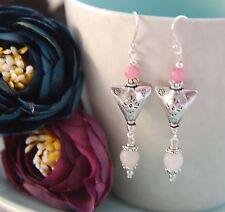 Rose Quartz & Pink Morganite Gemstone Tibetan Triangle Sterling Silver Earrings