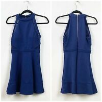 Emerald Sundae Medium Womens Blue Sparkled Halter Sleeveless A-line Dress