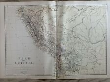 1882 PERU & BOLIVIA ORIGINAL ANTIQUE COLOUR MAP BY W.G. BLACKIE 138 YEARS OLD