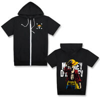 One Piece Monkey D Luffy Hoodie Short Sleeve Zip-Up SweatShirt Hooded Tops Coat