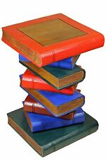 "Large 20"" Wooden Stacked Book Side Table / Stool / Lamp Plant Stand. Coloured"