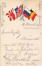 POSTCARD  MILITARY  WWI    PATRIOTIC    FLAGS