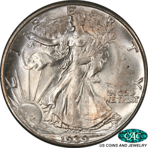 1939-D Walking Liberty Half Dollar PCGS and CAC MS66 Outstanding Luster