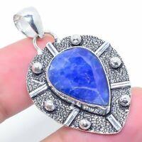 "Burmise Sapphire Gemstone Handmade Ethnic Jewelry Pendant 1.77"" VJ-12305"
