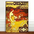 """Vintage Cycling Advertising Poster Art ~ CANVAS PRINT 8x10"""" Crescent Cycles"""