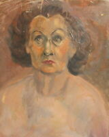 ANTIQUE IMPRESSIONIST OIL PAINTING OLD WOMAN PORTRAIT