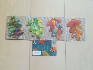 Starbucks Fall Leaves Gift Cards LOT of 5 pins intact