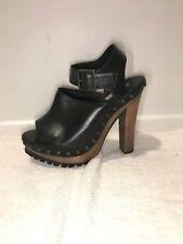 Zara Black Leather Studded Platform Clog High Heel Sandals Shoes 38