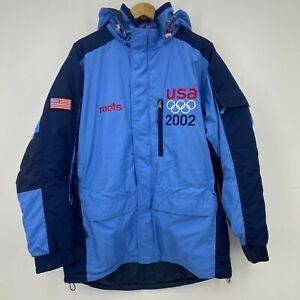 Roots Winter Jacket Men's L Blue 2002 US Olympic Team Issued Official Outfitter