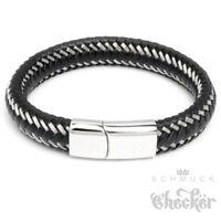 Echt Leder Herren Armband schwarz geflochten Silberfaden Edelstahl Lederarmband