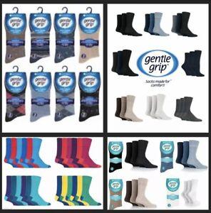 Men's 6-11 & 12-14 Gentle Grip Socks Lot by SOCK SHOP -Plain & Assorted Colours
