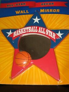 BASKETBALL ALL STAR WALL MIRROR RED WHITE & BLUE KIDS ROOM DECOR COMPASS MKTING