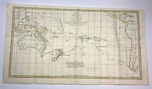 SOUTH PACIFIC OCEAN 1774 JAMES COOK VERY LARGE ANTIQUE SEA CHART 18TH CENTURY