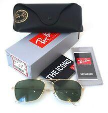 Ray-Ban RB3136 001 58-15 Caravan Sunglasses Metal Gold Lenses Green Classic G-15