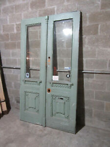 ~ ANTIQUE CARVED DOUBLE ENTRANCE FRENCH DOORS BEVELED GLASS ~ 52 x 90 ~ SALVAGE