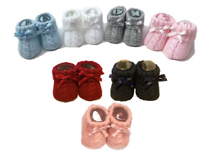 Newborn Baby Boy Girl Bow Knitted Booties Bootees Soft Shoe Gift Idea 0-3 Months