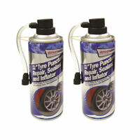 Tyre Sealer wheel Puncture Repair, Sealant and Inflator 450ml x2 streetwize