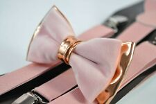 Dusty Pink Velvet Rose Gold Leather Bow tie + Matched Suspenders Baces AllAges