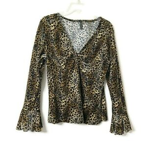 Olivia Paige Velvet Leopard Print Top Size XL Bell Sleeves V-Neck Stretchy