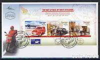 ISRAEL 2013 POSTAL VEHICLES IN ERETZ ISRAEL SHEET CAR TRAIN CARRIAGE HORSE FDC
