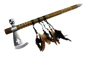 """18"""" Tomahawk Hatchet Native Indian Chief Axe Functional Smoking Tabacco Pipe NEW"""