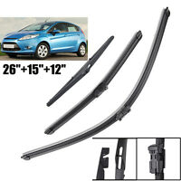 3PCS Front Rear Window Windscreen Wiper Blades Kit For 2008-2016 Ford Fiesta MK7