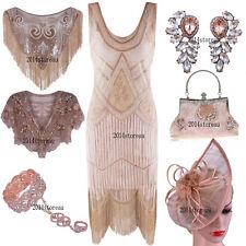 Rose Gold 1920s Flapper Dress Evening Gown Party Cocktail Fringe Dress Plus Size