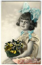 Real Photo LITTLE GIRL with Huge BLUE BOW in Hair Hand Tinted Postcard 1922 Amag