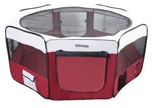 "55"" Portable Puppy Pet Dog Soft Tent Playpen Folding Crate Pen New - Burgundy"