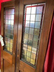RECLAIMED ANTIQUE PITCH PINE Pair of Stained Leaded Glass PERIOD DOORS (French)
