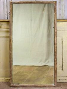 """Antique rustic French mirror with simple timber frame 1/2. 26½"""" x 49½"""""""