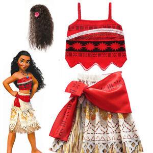 Girls Hawaiian Princess Moana Fancy Dress Up Necklace Wig Book Week Costume Gift