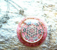 Metatron Cube pendant Orgone Orgonite Rose Quartz,new age, chakra,Reiki necklace
