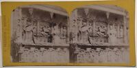 Normandia Postal-Rouen bajo Relieve Iglesia Foto Estéreo Vintage Albúmina Aprox
