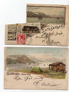 2 Norwegen -AK, SPITZBERGEN Spitsbergen, gelaufen 1898 nach Bremen