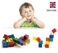 Kids Twist and Lock Wooden Blocks Mini Puzzle Twisty Fidget Fiddle Sensory Toy