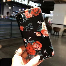 Cute Rose Pattern Rubber Soft Silicone Phone Case Cover For iPhone XS Max XR X